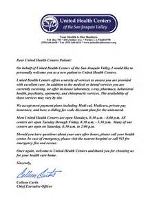 new patient welcome letter united health centers is