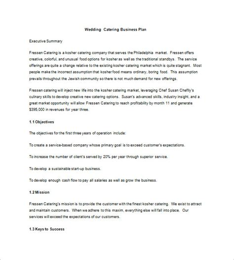 mobile catering business plan template catering business plan template business plan
