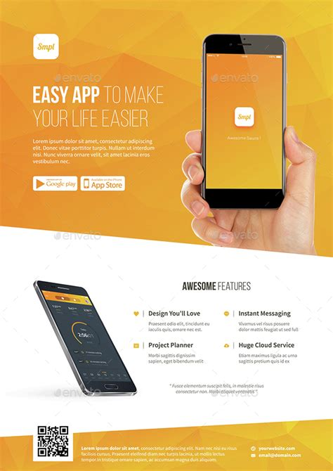 Mobile App Promotion Flyer Template By Bornx Graphicriver App Promo Template