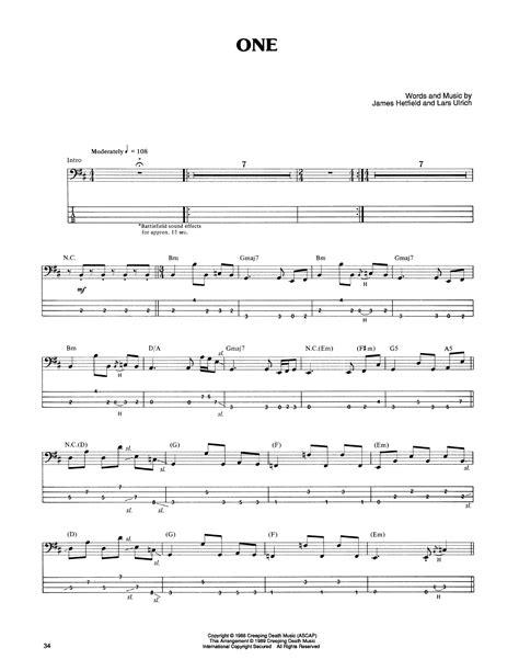 metallica one piano sheet music metallica one sheet music