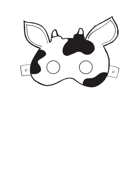 printable mask cow mask templates google search classroom ideas