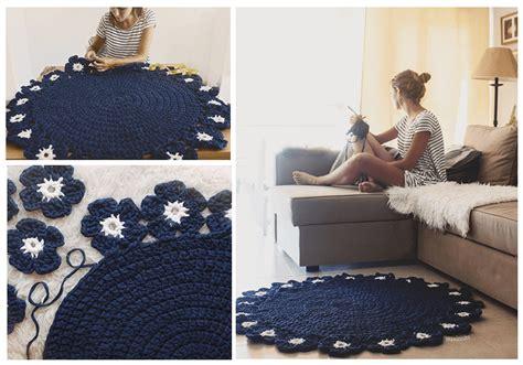 alfombra redonda de trapillo patr 243 n de alfombra redonda con flores a trapillo