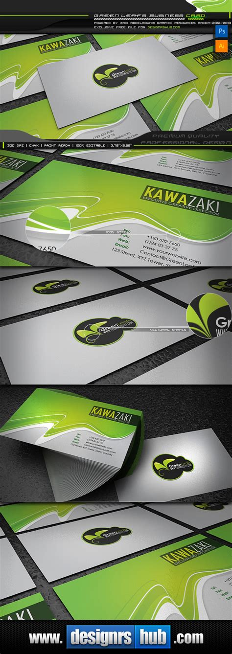 Green Card Template by Green Leaf Free Green Business Card Template