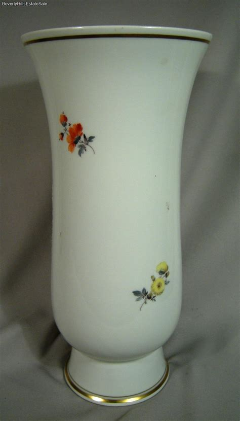 large antique meissen porcelain painted flower vase