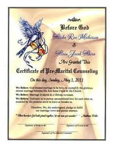 Premarital Counseling Certificate Of Completion Template by Wedding Dove Proclamation Pre Marital Counseling Certificate