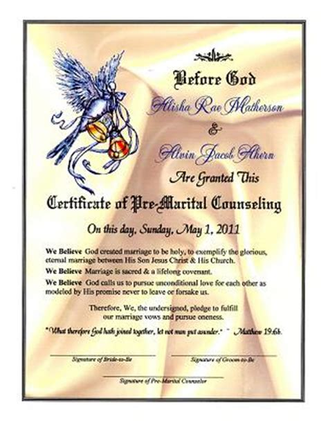 wedding dove proclamation pre marital counseling certificate