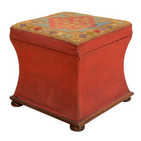 needlepoint ottoman english needlepoint concave sided ottoman at 1stdibs