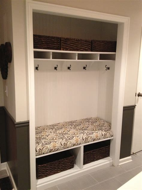 bench in closet unused mudroom closet converted into a bench with hooks