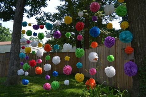 backyard party ideas decorating diy outdoor party decorations waterproof pom poms doin