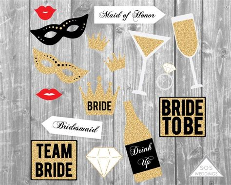 wedding photo booth props printable pdf bachelorette photo booth signs bridal shower photobooth
