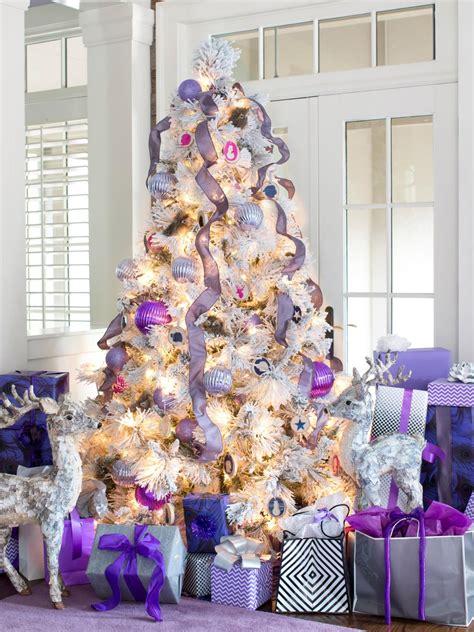white christmas tree with purple lights photos hgtv