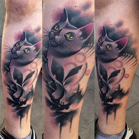 cute leg tattoo designs cat by lukasz kaczmarek design of