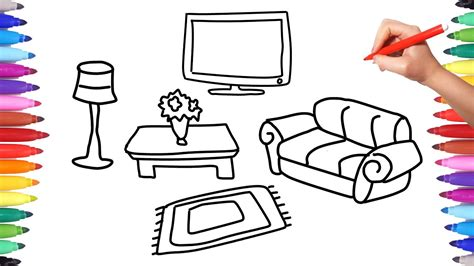 Drawing Living Room - how to draw living room set coloring pages for