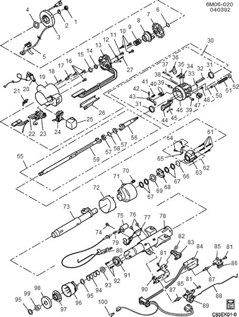 service manual exploded view 1995 cadillac seville manual transmission trans specialties exploded view for the 1995 cadillac deville tilt steering column services