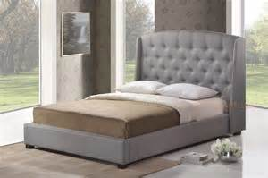 tufted headboard with frame gray grey linen platform bed frame w tufted