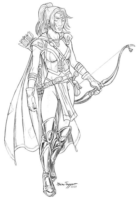 elf archer coloring pages i wonder whom pawel is going to kill with his arrow there