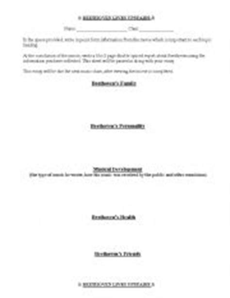 beethoven biography and questions english teaching worksheets beethoven