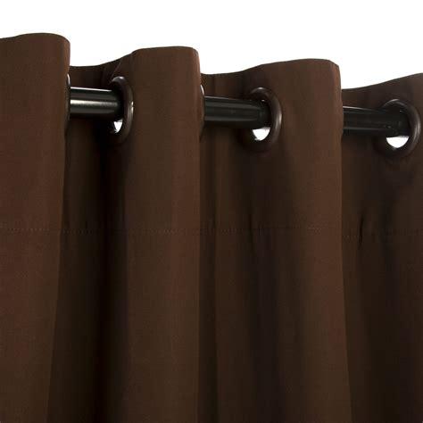 brown outdoor curtains sunbrella canvas bay brown outdoor curtain with nickel