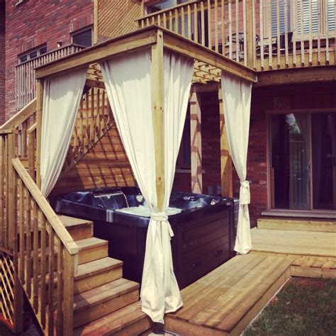 Outdoor Cabana Curtains Backyard Tub Cabana Gazebo With Curtains Tub Pinterest