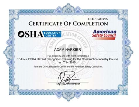osha 10 hour construction certificate bing images