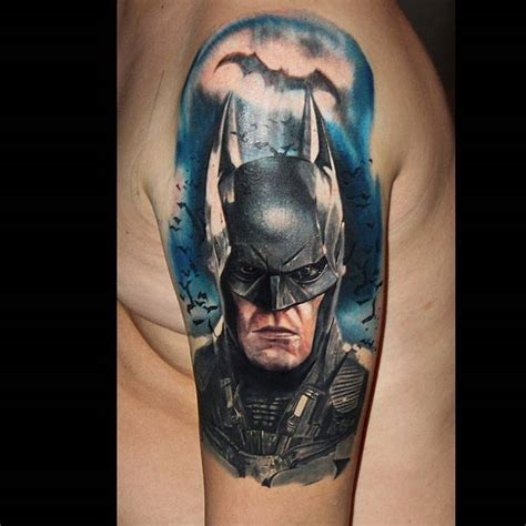 batman tattoo realistic realistic style batman tattoo on the left upper arm and