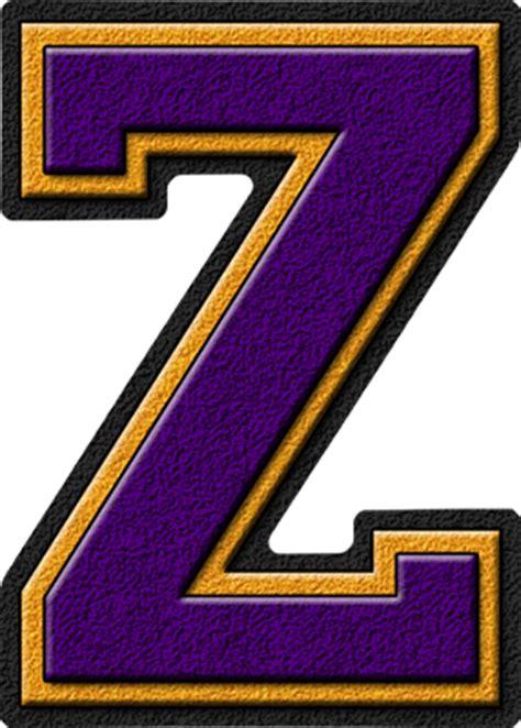 College With Letter Z Presentation Alphabets Purple Gold Varsity Letter Z