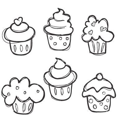sketch simple pattern easy to draw cupcakes for the kids or those of use who