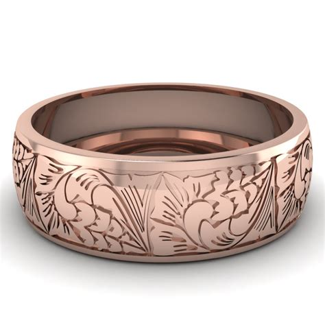 pattern gold wedding ring mens wedding bands in 14k rose gold intricate pattern