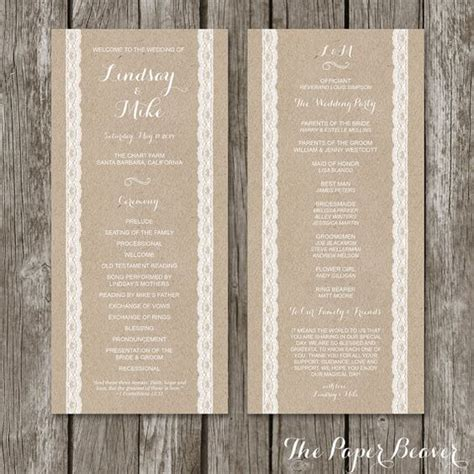 Ceremony Cards Templates by Wedding Program Template Rustic Kraft Lace Wedding