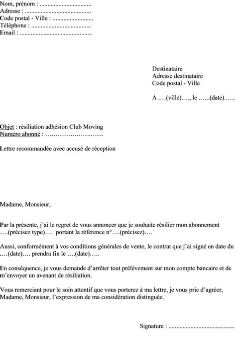 Lettre De Résiliation Upc Modele Resiliation Contrat Fitness Document