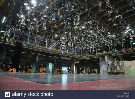 stock sound empty television sound stage with a large lighting grid