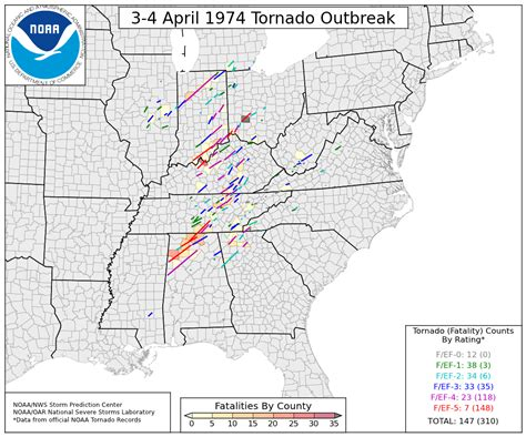 map of tornadoes today today in weather history the 1974 outbreak