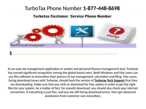 phone number to turbotax ppt need of the turbotax support phone number powerpoint presentation id 7352183