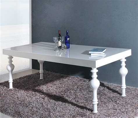 nayri transitional white high gloss dining table