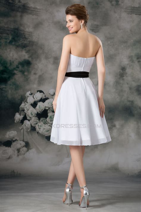 a line sleeveless chiffon white bridesmaid dresses