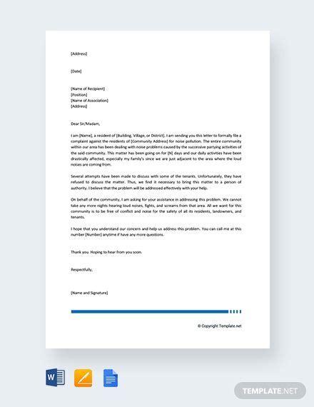 noise complaint letter council lettering