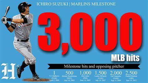 Ichiro Suzuki 3000 Hits Ichiro Suzuki Joins The 3 000 Hit Club With The Miami