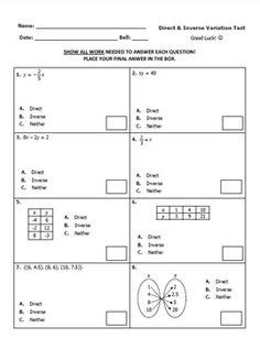 Direct Variation Worksheet With Answers by Math Direct Proportions Worksheet Direct Variation Notes
