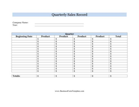 Sale Records Quarterly Sales Record Template