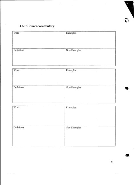 blank four square writing template 10 best images of four square vocabulary worksheet blank