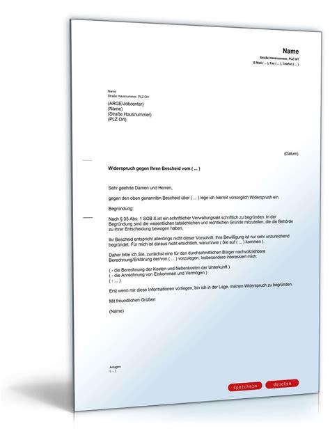 Musterbrief Kündigung Arbeitsvertrag Kostenlos Widerspruch Alg Ii Bescheid Vorlage Zum
