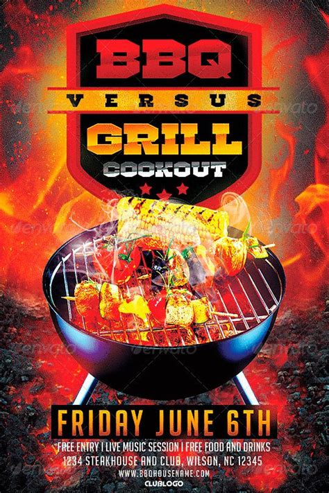 ffflyer download flyer templates bbq vs grill cookout flyer