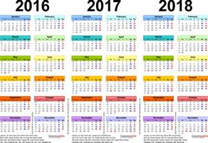 2016 To 2018 Calendar Three Year Calendars For 2016 2017 2018 Uk For Word
