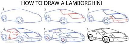Steps To Draw A Lamborghini How To Draw A Lamborghini Step By Step Pictures Cool2bkids