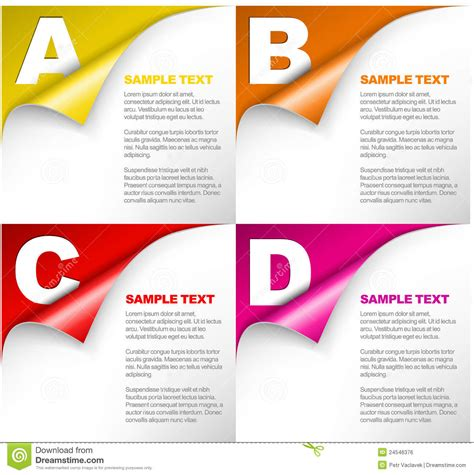 abcd cards template abcd vector progress background stock vector