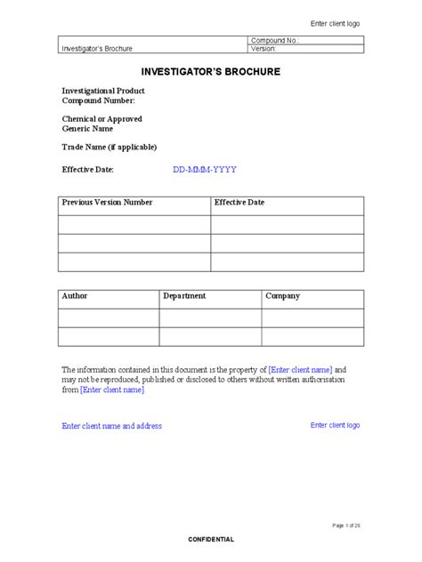 Investigator Brochure Template by Investigator Brochure Template 3 Free Templates In Pdf