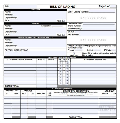 sle bill of lading 5 documents in pdf