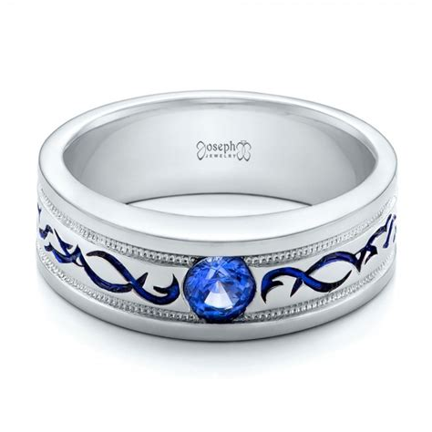 custom engraved blue sapphire s wedding band 102213