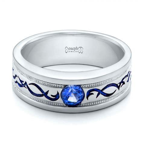 Custom Engraved Blue Sapphire Men's Wedding Band #102213