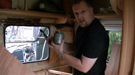 how to service how to repair a caravan water leak damage part 2 wall board cutting fitting